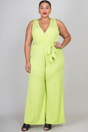 Plus Size Simple But Classy Tie Palazzo Jumpsuit