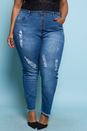PLUS SIZE DESTROYED SKINNY DENIM JEAN
