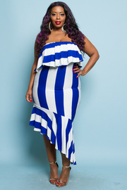 PLUS SIZE STRIPE TUBE FITTED MIDI DRESS