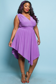 PLUS SIZE WRAP A-LINE MIDI DRESS