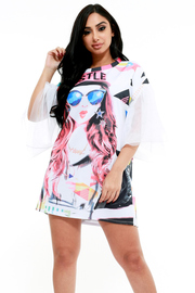 FACE Printed Mesh Butterfly Sleeve Dress