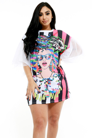 "PLUS SIZE ""Drunk"" Printed Mesh Butterfly Sleeve Dress"