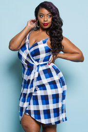 PLUS SIZE CKECKED PATTERN MINI DRESS