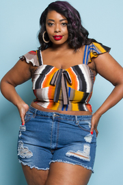 PLUS SIZE STRIPE CUTE SHORT SLEEVE CROP TOP