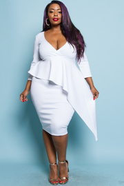 PLUS SIZE RUFFLE POINT MIDI RESS