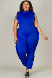 PLUS SIZE SIDE RUFFLE POINT JUMPSUITS