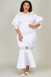PLUS SIZE LACE POINT FITTED LONG DRESS