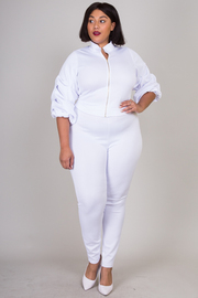 PLUS SIZE RUFFLE POINT SLEEVE TOP AND PANTS SET