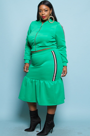 PLUS SIZE SIDE STRIPE JACKET AND SKIRTS SET
