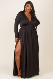 Plus Size Sexy V Cut Slit Maxi Long Sleeved Dress
