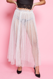 SEE THROUGH MESH LONG SKIRTS