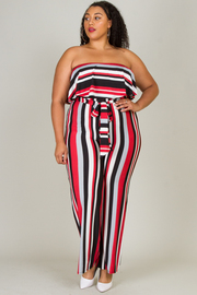 PLUS SIZE STRIPE TUBE TOP JUMPSUITS