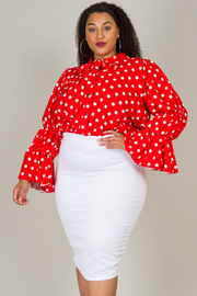 PLUS SIZE DOT PATTERN TOP AND SKIRTS SET