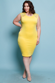 PLUS SIZE SLEEVELESS WITH SHOULDER STONE POINT SOLID MINI DRESS