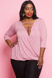 PLUS SIZE V NECK 3/4 SLEEVE TOP