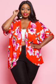 PLUS SIZE FLOWER CARDIGANS
