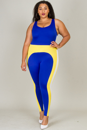 PLUS SIZE TWO TONE JUMPSUITS