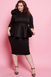 PLUS SIZE 3/4 SLEEVES BIG FLOWER DETAIL PEPLUM STYLE DRESS