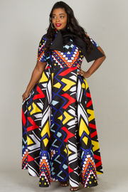 PLUS SIZE PATTERN MAXI DRESS