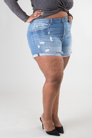PLUS SIZE DESTROYED DENIM SHORTS