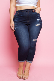 PLUS SIZE DESTROYED DENIM CROP JEANS