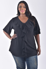 PLUS SIZE SHORT SLEEVE RUFFLED TOP