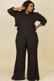 PLUS SIZE SLEEVES AND OPEN BACK RUFFLE JUMPSUIT