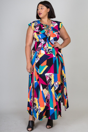 PLUS SIZE SEXY FRONT STRING MAXI DRESS