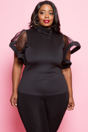 PLUS SIZE SEE-THROUGH SHORT SLEEVE TOP