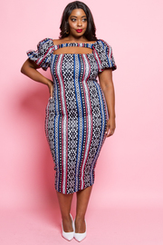 PLUS SIZE SEXY FRONT FITTED MIDI DRESS