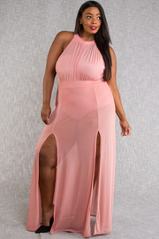 PLUS SIZE SEXY MESH MAXI DRESS AND JUMPSUIT SET
