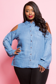 PLUS SIZE OFF SHOULDER LONG SLEEVE TOP