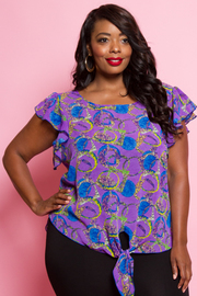 PLUS SIZE SHORT SLEEVE FRONT TIE TOP