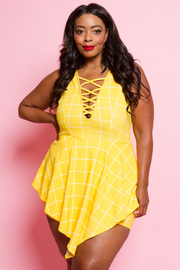 PLUS SIZE SLEEVELESS ROMPER WITH MINI SKIRTS
