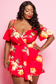 PLUS SIZE OFF SHOULDER ROMPER WITH SKIRTS