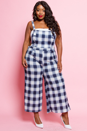 PLUS SIZE CHECK PATTERN OVERALL