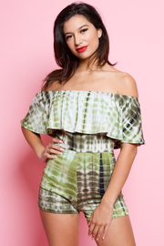 Off Shoulder Flounced Tie Dye Romper