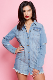 DENIM DESTROYED MIDI LENGTH JACKET