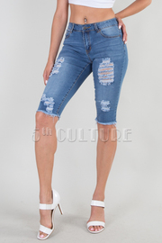 DENIM DESTROYED BERMUDA PANTS