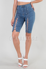DENIM FRONT STRING BERMUDA PANTS