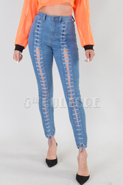 DENIM FRONT STRING JEANS