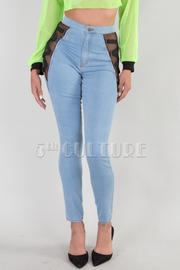 DENIM SKINNY SIDE MESH JEANS