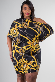 PLUS SIZE SHORT SLEEVE PRINTED MINI DRESS