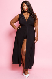 PLUS SIZE ROMPER WITH MAXI DRESS