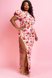 PLUS SIZE FLROAL PRITNTED  MAXI DRESS