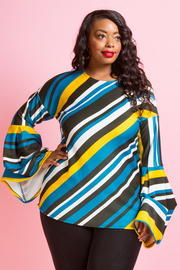 MULTI COLOR STRIPED LONG SLEEVES TOP