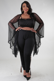 PLUS SIZE MESH COVERUP