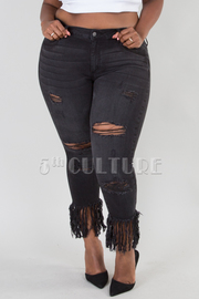PLUS SIZE SKINNY BOTTOM POINT PANTS