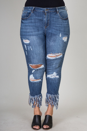 PLUS SIZE SKINNY BOTTOM POINT JEANS