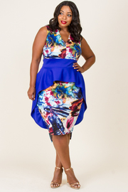 PLUS SIZE SLEEVELESS LAYED MIDI DRESS